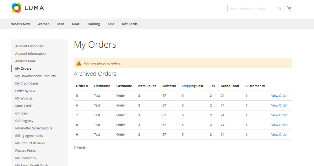 Legacy Orders Customer Archive View