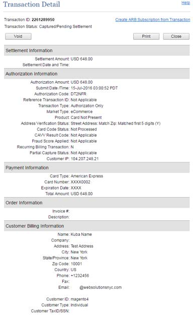 Authorize.Net Full Transaction Detail