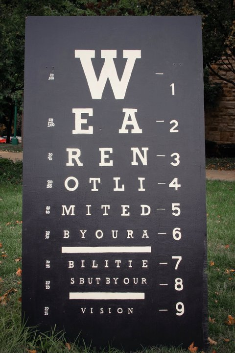 """""""Can you read this eye chart? --There's a quote in there""""--we asked of people walking by in downtown Boone on Labor Day during our """"Vision"""" art campaign."""