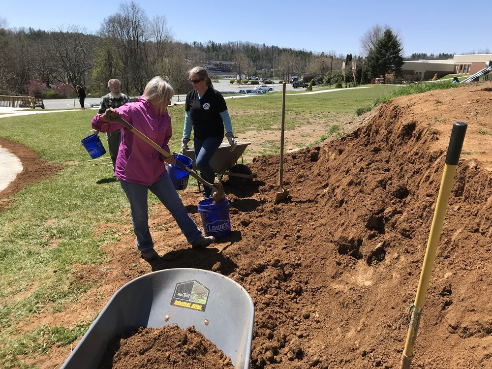 "On the 5th Sunday of April, we split into three groups to surprise and serve Hardin-Park Elementary (landscape work-above), Oasis (re-stocking groceries of safe house), and the ""tot-lot"" near the swimming complex (bubbles, snacks, games)."