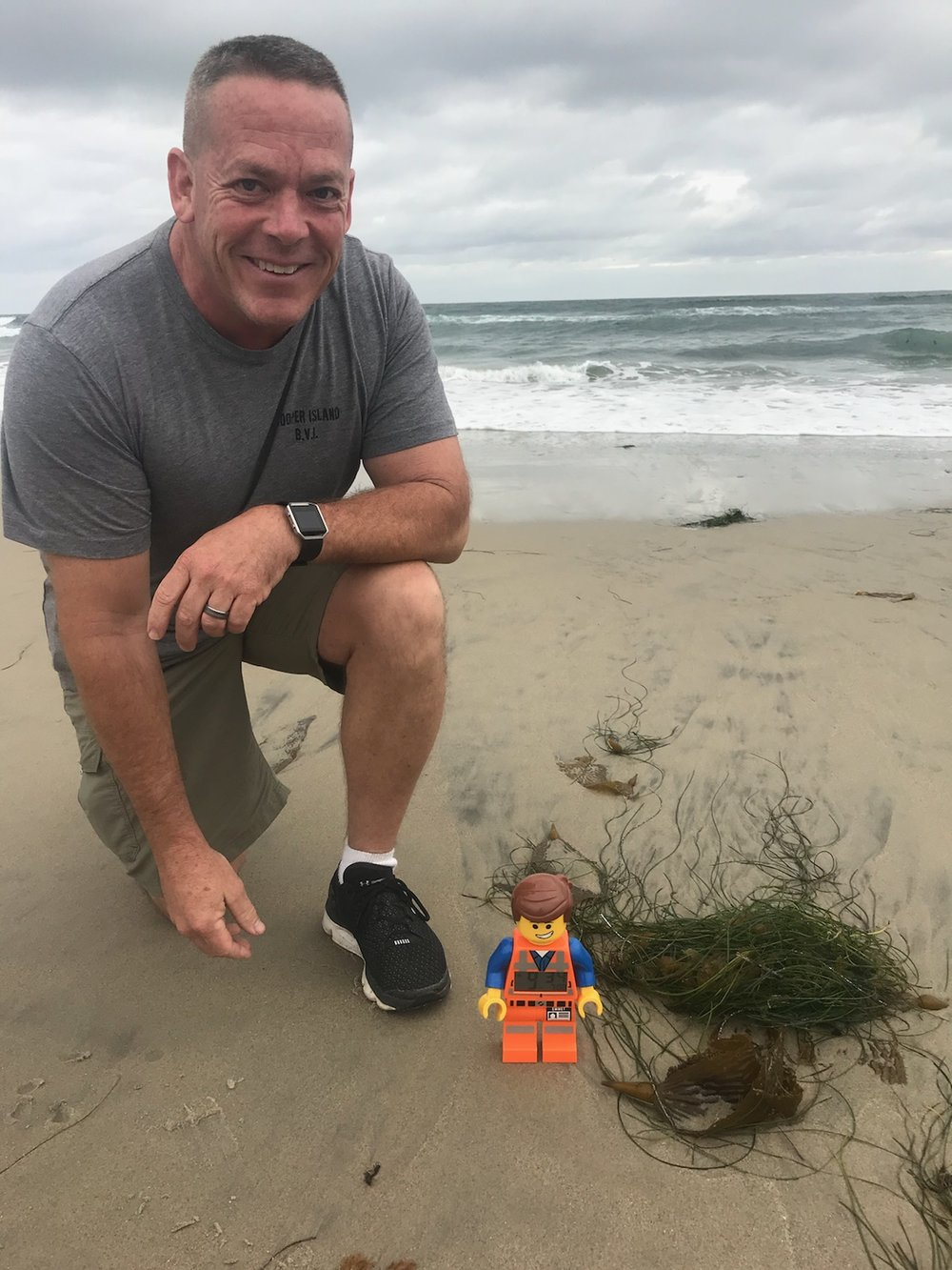 Just an update on our Roadie Award winner, Scott Whitmire:  When Scott isn't helping with logistics on a Sunday morning, he could be at the beach--in San Diego--with the Mountainside Roadie Award (Emmet)!  Of all the people helping serve at Mountainside, I wonder who will be taking home the Roadie Award this winter?