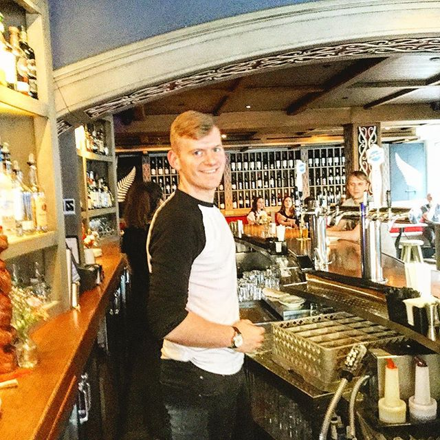 Evan training behind the bar! Stop by and ask for a taste of an Irish Cocktail. #nelsonblue#gastropub #funtimes #ireland #bartenders #southstreetseaport #brooklynbridgeview