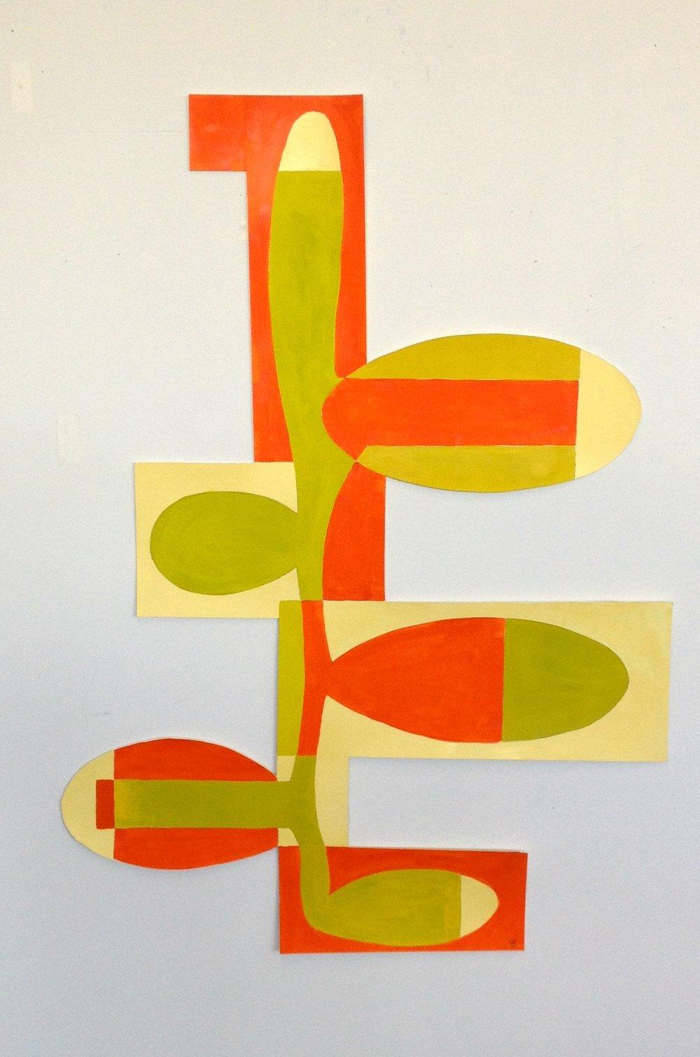 Tree 2 gouache on paper 38.5 x 25 in.