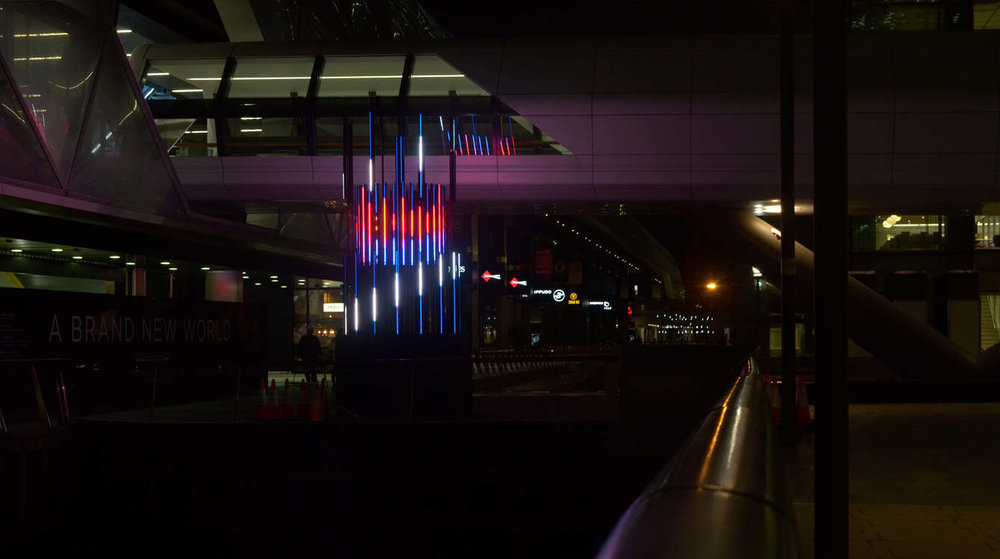 Projection mapping in Canary Wharf using 2D and 3D motion graphics on a sculpture design project