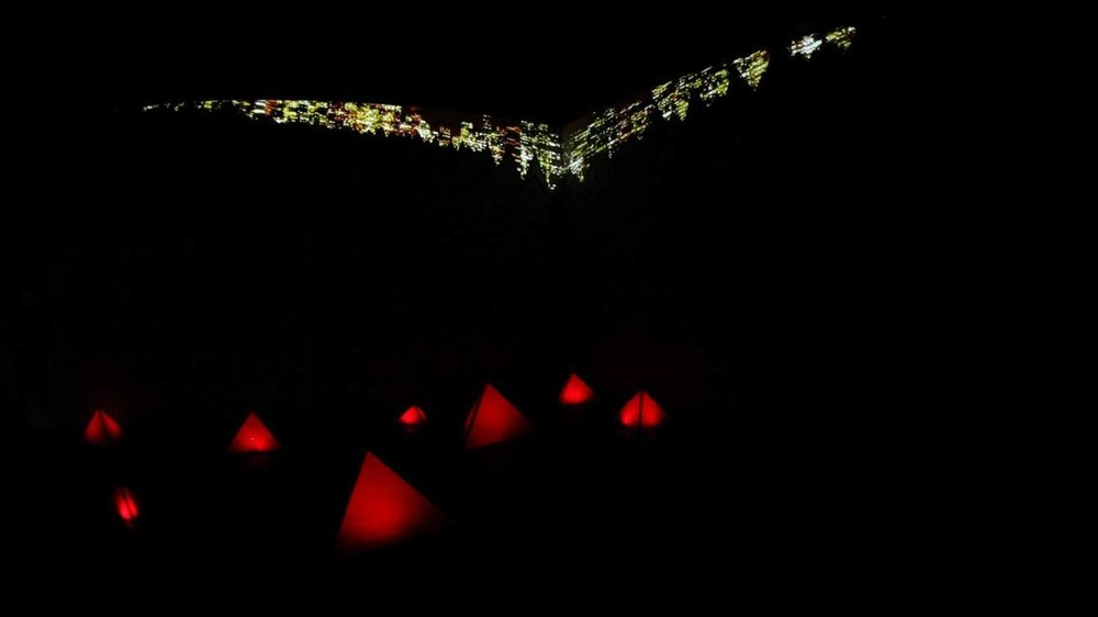 Projection mapping and light installation using 3D and 2D motion graphics