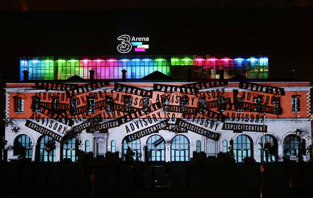 3 Arena launch in Dublin Ireland with projection mapping 2D and 3D motion graphics and animation