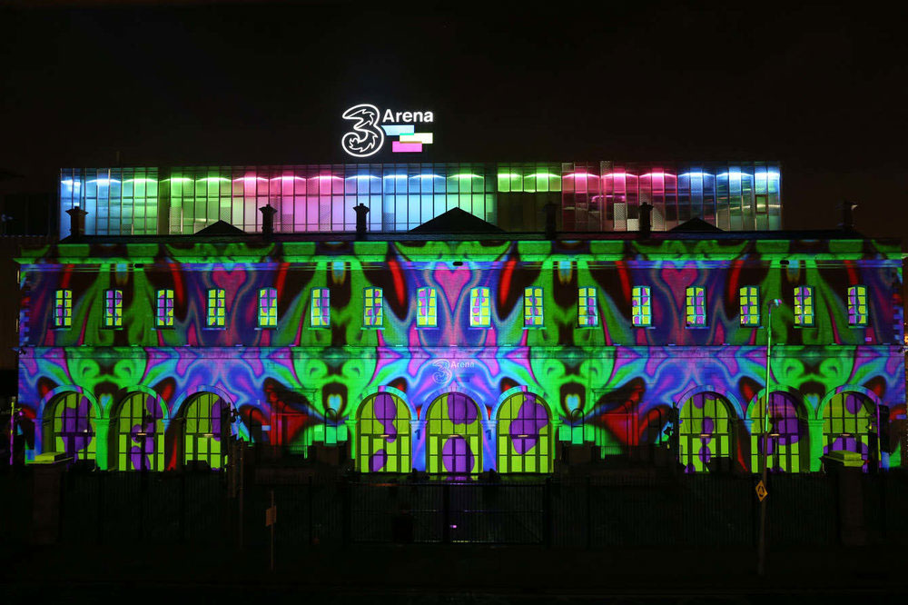 Projection mapping and 2D 3D motion graphics in Dublin Dockland for 3 Arena Ireland