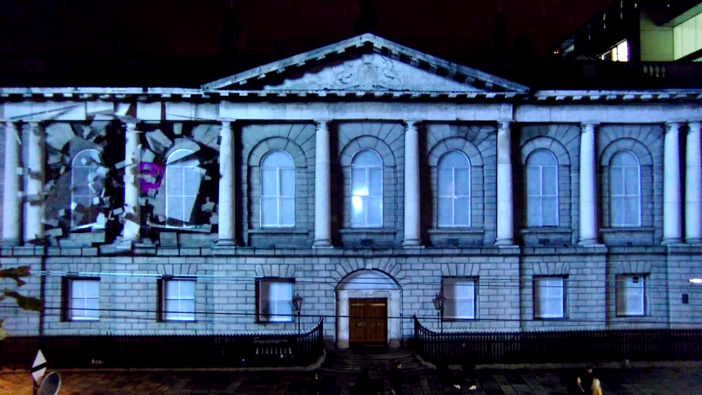 Projection mapping using 2D and 3D motion graphics Dublin Ireland