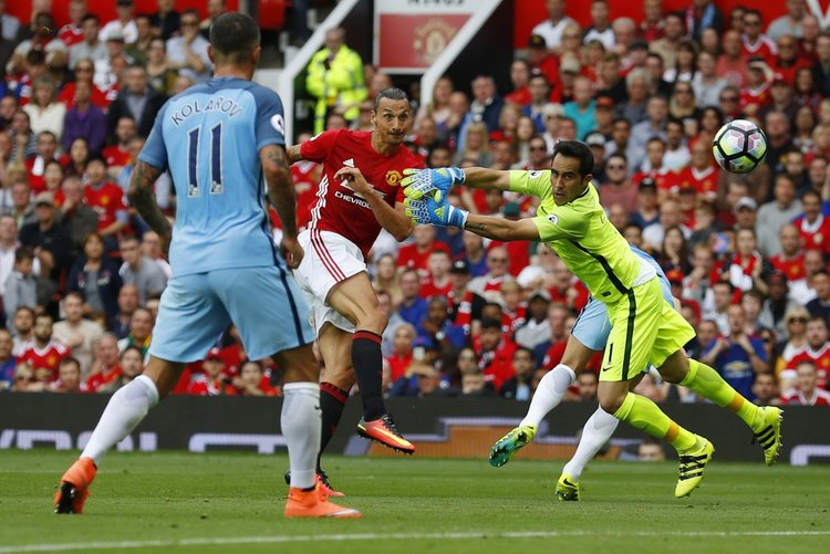 4f196e874d6 Zlatan Ibrahimovic volleys past Claudio Bravo in September s Manchester  Derby (Oli Scharff   nbsp