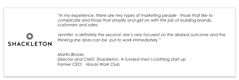 Shackleton client testimonial for Jennifer Wirth