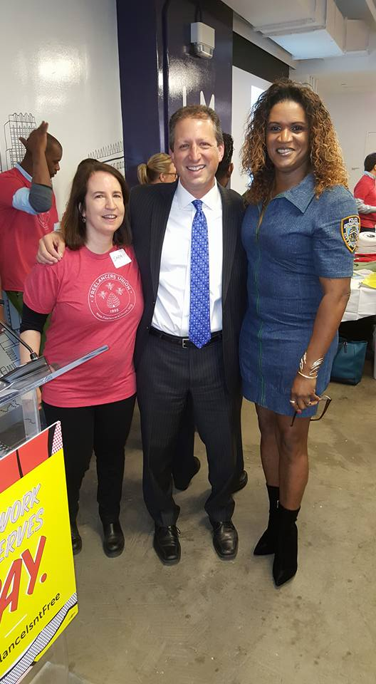 JustRaymona with Freelancer's Guild Founder and Executive Director Sara Horowitz (L) and New York City Councilman Brad Lander (M)