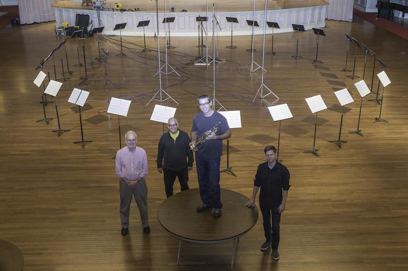 With my amazing recording team: John Newton (left), Sam Pilafian (back center), Jesse Brayman (right)  Photo credit: Michael Lutch