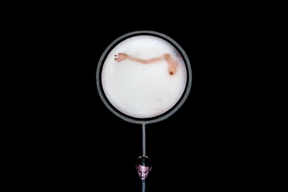"""ph.  Guido Mancari   24 maggio 2014 - """"Unheard"""",  music by Scott Gibbons, a view by Romeo Castellucci - Societas Raffaello Sanzio, figure: Laura Pante, for Angelica festival, Music Research Center, at Teatro San Leonardo, in Bologna"""