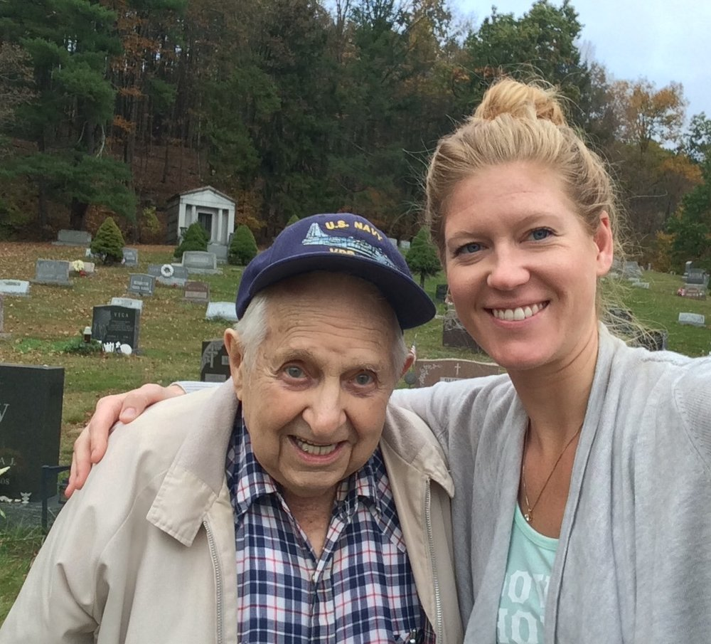 Visiting Grandpa Pete's grave in Ellenville, NY with Grandpa Barney.