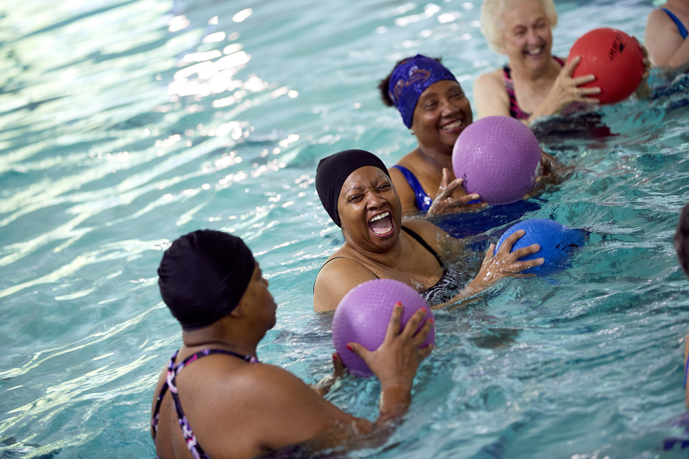 Aquatics - A no impact workout using the resistance of the water. Cardio, water weights, noodles and stretching are done in these classes. Great for arthritis and post-rehab.See Schedule →