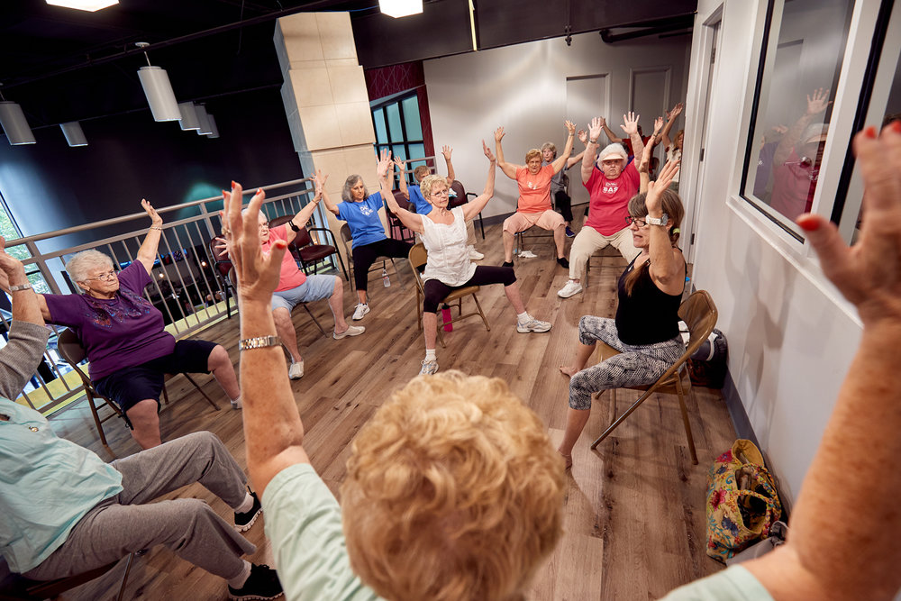 Senior Yoga - Moves your whole body through a complete series of seated and standing yoga poses. Chair support is offered to safely perform movements.See Schedule →