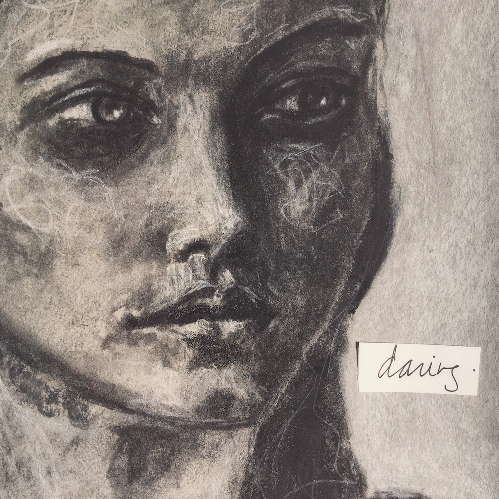 charcoal sketch exploring qualities of the divine feminine