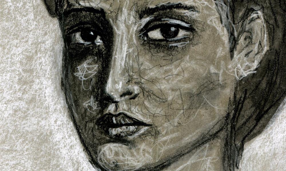 charcoal portrait by Angela Amias