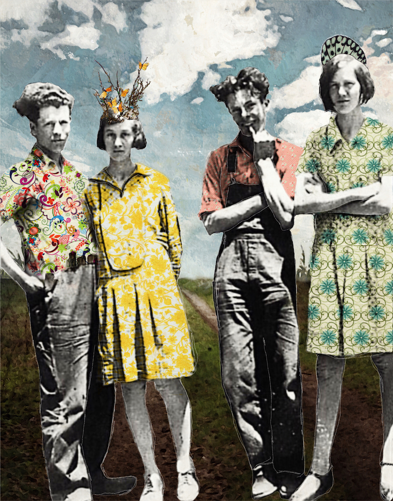 This Road is Going Somewhere. Digital collage using vintage portraits.