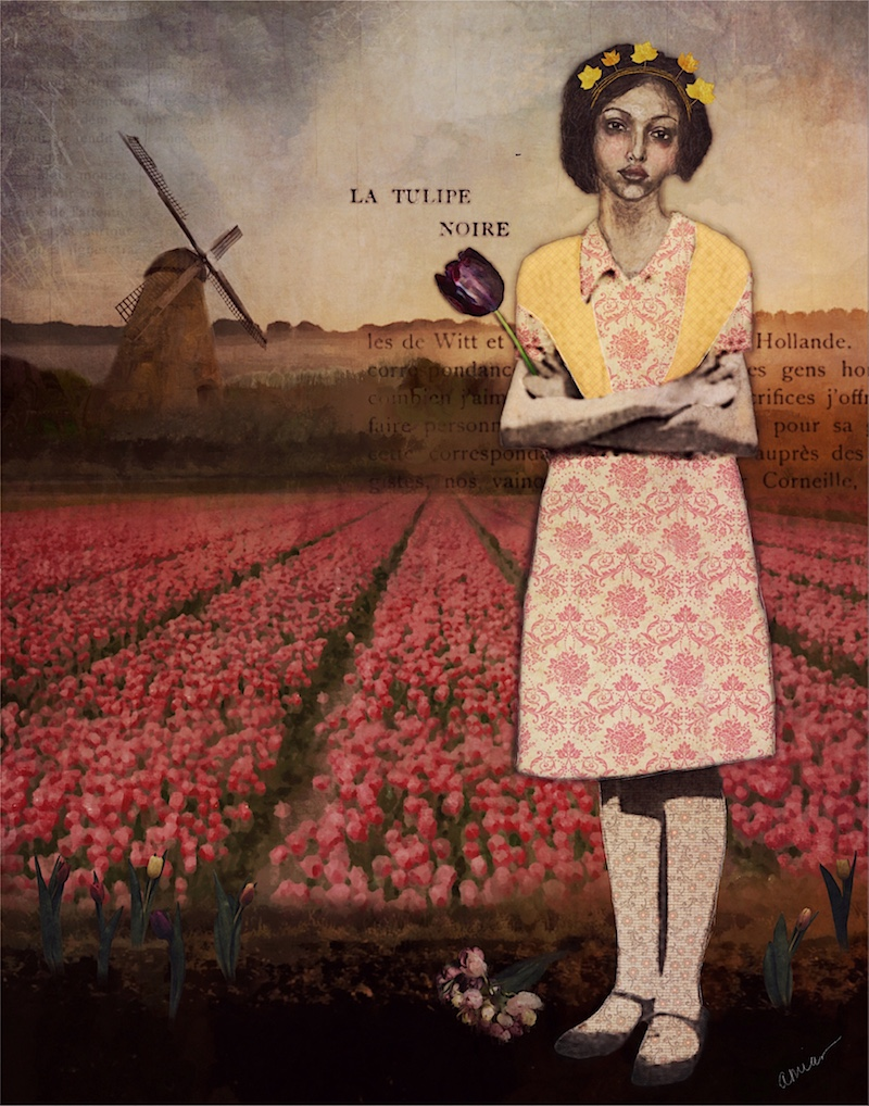 Behold the Tulip Queen. 2018. Mixed media and digital collage.