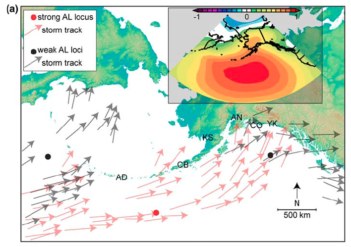 Storm tracks directed by the Aleutian Low atmospheric pressure cell (https://archive.arcus.org/synthesis2k/sites/MicaLake/index.php)