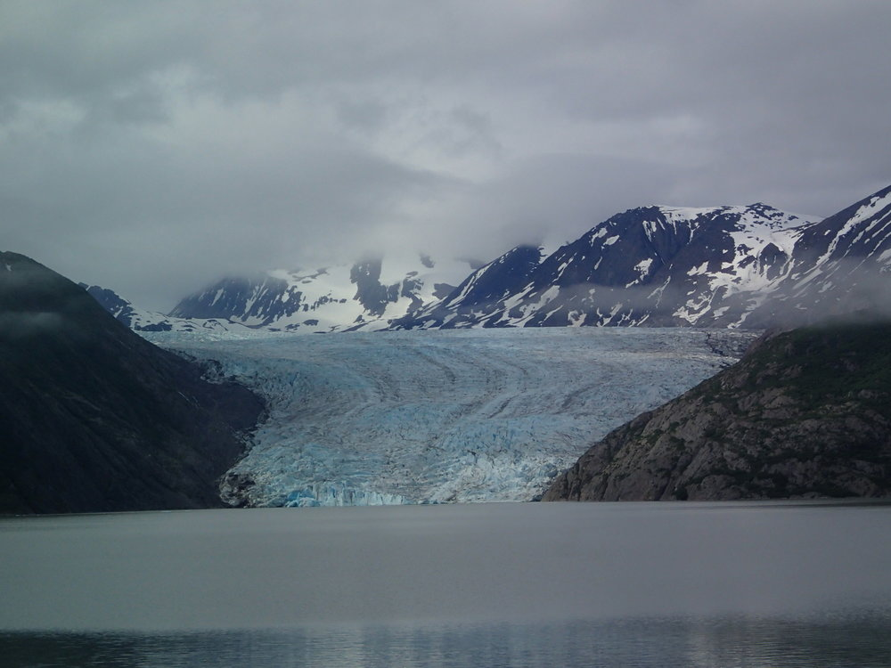 Skilak glacier on a cloudy day as seen from the ice contact lake near Pothole Lake