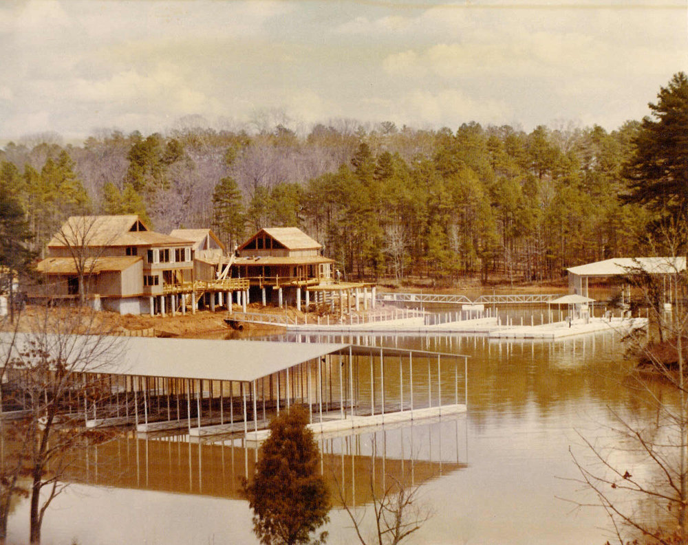 A vintage photo showing the construction phase of the River Hills Marina