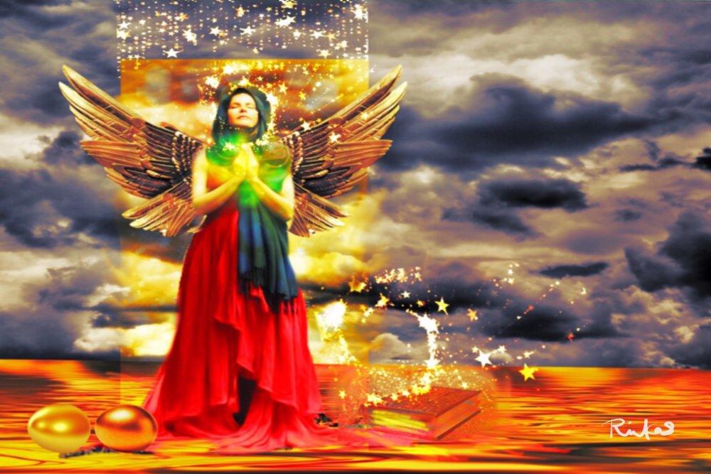 """Golden Goddess of Gratitude"" By Diana Riukas, iPad digital art"