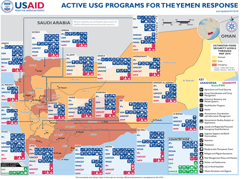 Active US Government programs for the Yemen response, 2018   Source:  US Agency for International Development (USAID)