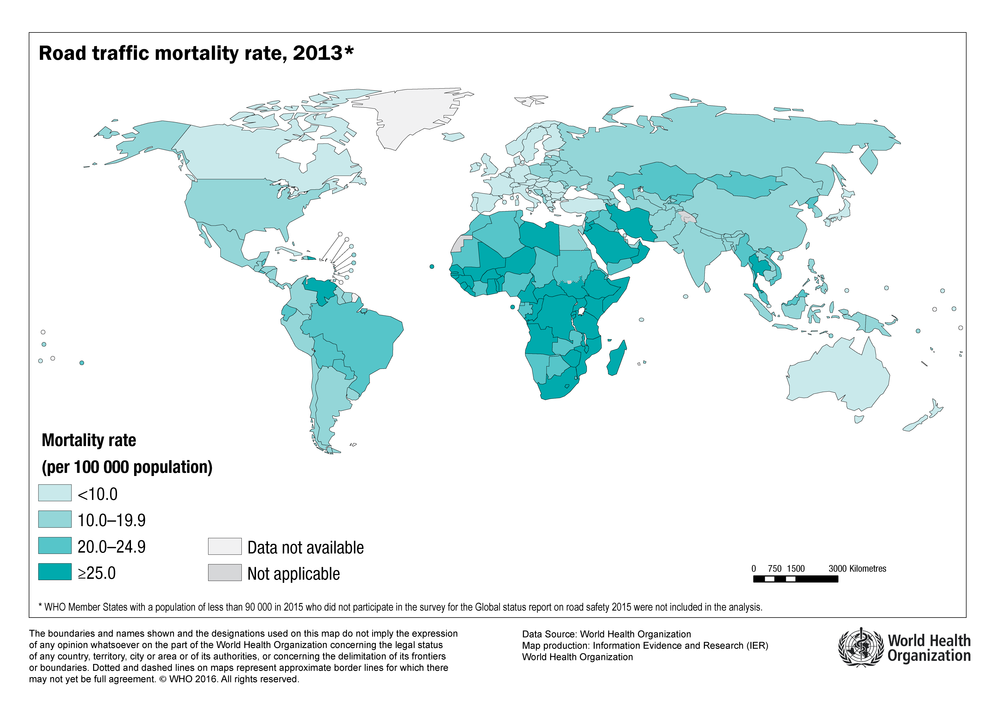 World traffic mortality rate, 2013   Source:  World Health Organization (WHO)