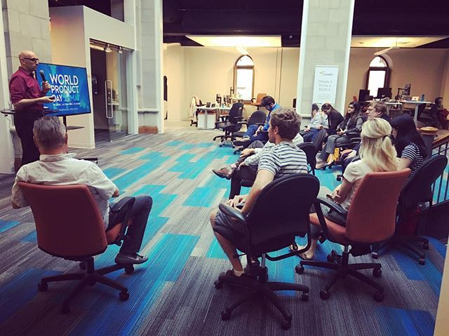 We enjoyed hosting Pittsburgh's Product Tank @meetup celebrating World Product Day featuring speaker Mark Adkins from Lean Med LLC! #insidetruefit #pittsburgh #productowner #productmanager #worldproductday #healthcareinnovation #pinksocks #technology