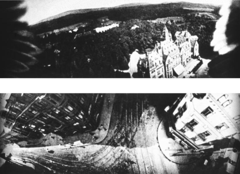 Bird's eye view from Dr. Julius Neubronner's miniature pigeon camera, with the pigeon's wing tips visible on the edges of the top image, ca. 1908. Public Domain.