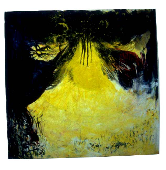 "Yellow Dancer, 2001, mixed media on paper, 57"" x 59"""