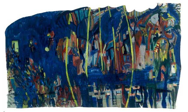 "Last Dance, 2002, acrylic and thread on canvas, 112"" x 61"""