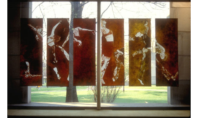 Quickening, 1999, woodblock monoprints, installation view