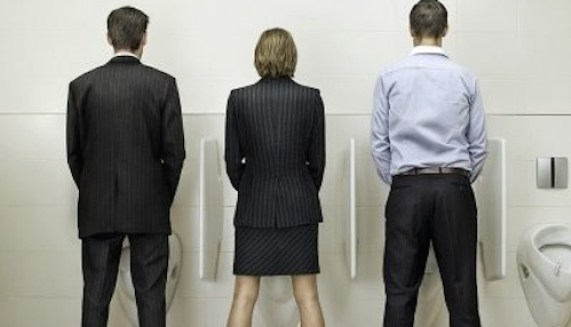 """Guy on Left,"""" I have to speak in front of all the executives in the office in 5 mins!""""    Guy on Right,"""" That's nothing, I have to sing the National Anthem in 2!!""""     Woman in middle, """" I have the day off. I just want to show you two pricks that ANYTHING a man can do, a woman can do better!"""""""