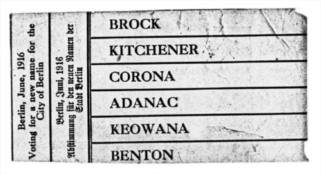 An original voting ballot. Kitchener won.