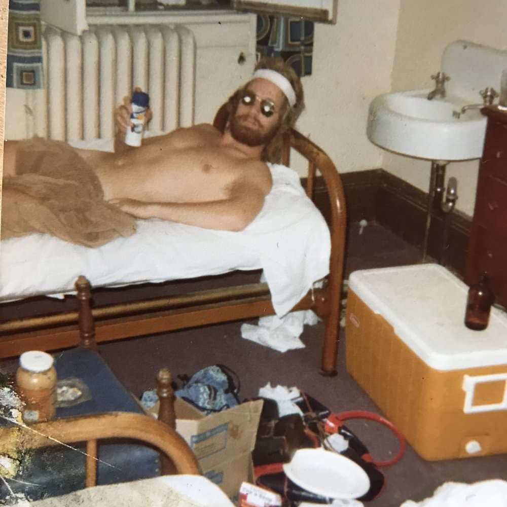 "Circa 1977 .....the rooms weren't the most glamorous .....and who is THAT guy?     Sometimes you had to hope that the rodents would get the hint and move out. If they didn't, you were apt to get an under-the-pillow-surprise during the night. One time Wayne and I had to share the same bed in a shithole up in Temagami, Ontario. At one point I felt movement under the pillow but what the fuck, I was too tired to care. In the morning Wayne and I awakened to find a dead ""mole"" under the pillow."