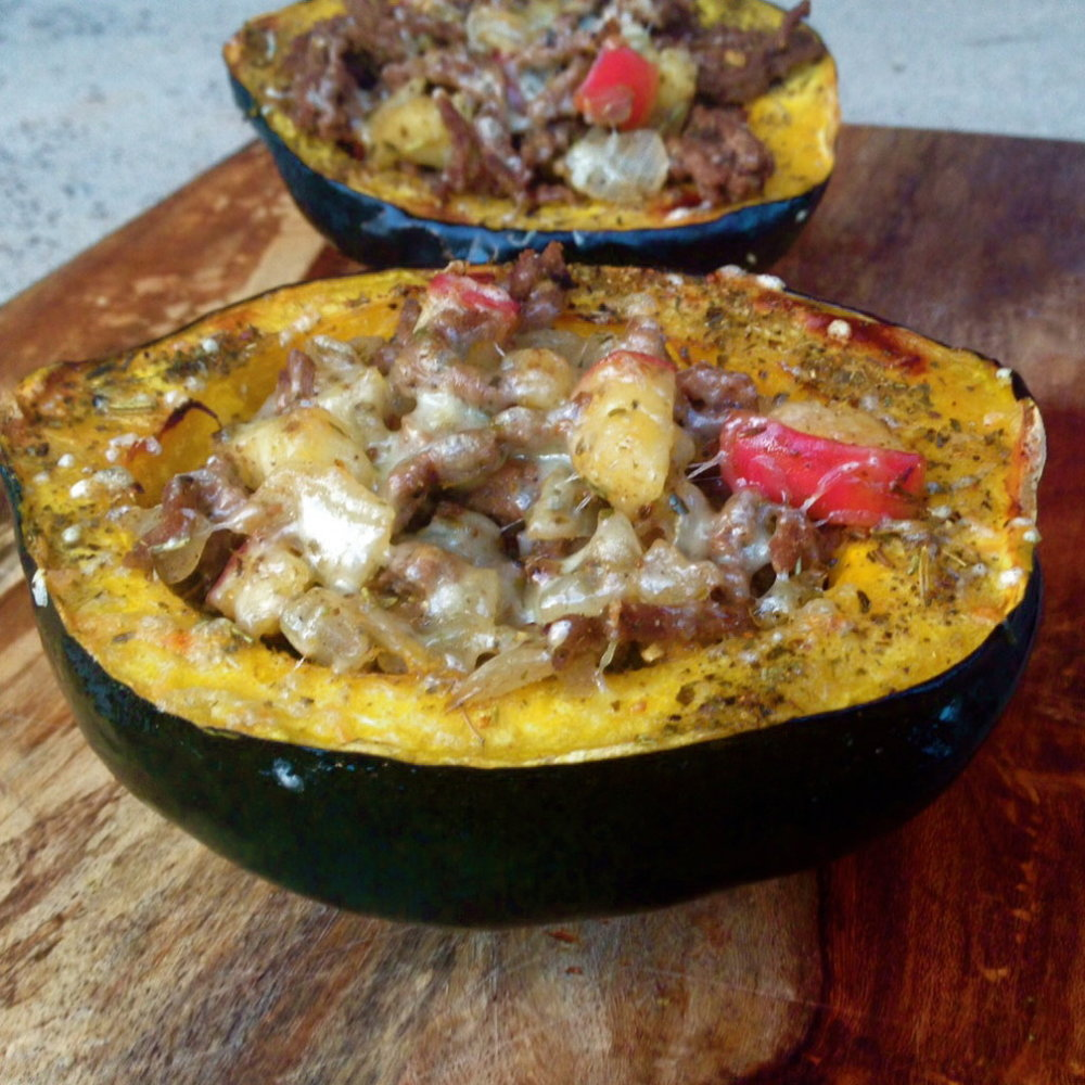 Spiced Stuffed Winter Squash with Apples