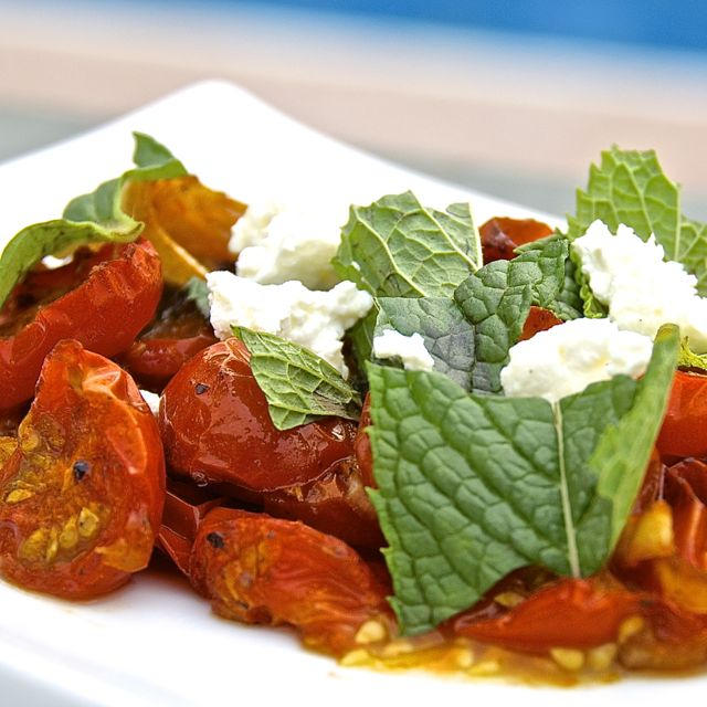 Harissa Roasted Tomatoes with Mint