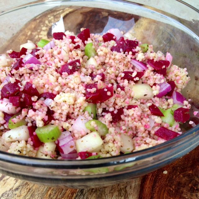 Za'atar Roasted Beet Couscous Salad