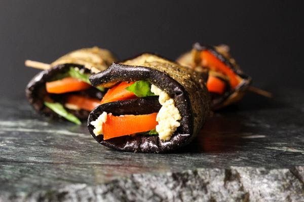 Eggplant Rollups with Cashew Cheese, Tomato and Basil
