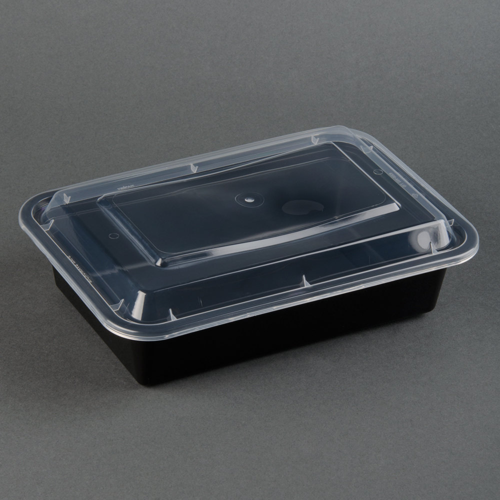black-38-oz-8-x-6-x-2-rectangular-microwavable-container-with-lid-150-case