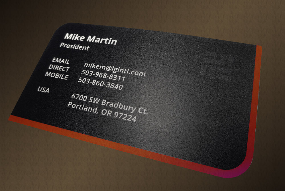 The rear of Lgi's business cards featuring subsurface printing as well as opaque, translucent and transparent ink