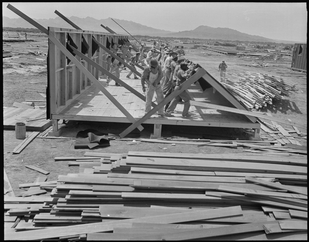Colorado River (Poston) Relocation Center, Parker, Arizona. A work crew assembles a barrack that will house six families.