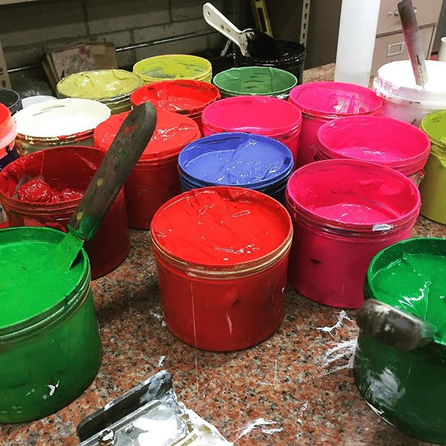 We're always making something #screenprinting #appareldesign #happyfourthofjuly #colorful #inks