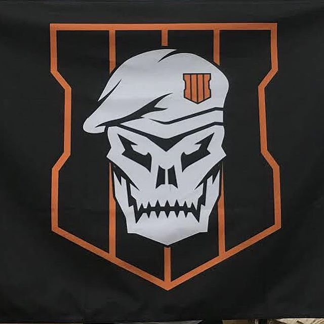 Double Sided Flags // Rush order for client's event 5' x 3' double sided, full color print hemmed and pole pocket  #flags #rushproduction #cod #codblackops #blackops #blackops4 #blackopsIIII #activision #merch #blackonblack #getprintd