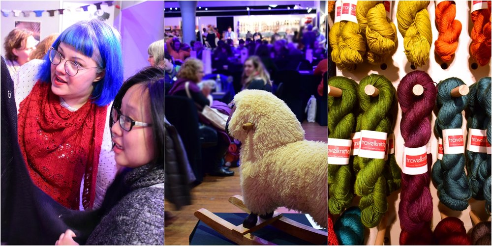 L-R: One of my former design students show me how she's used her background in mathematics to play with construction, a sheep watches over knitters relaxing, the  Travelknitter  stall showcased Larissa's gorgeous jewel tones.