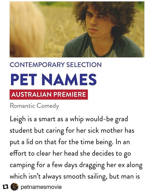 #Repost @petnamesmovie with @get_repost ・・・ Hey hey! Our Australian premiere is nearly here! #americanessentialsfilmfestival has included #petnamesmovie in its prestigious roster of American indies from the current festival circuit, and we couldn't be more humbled to share a page with @rbgmovie @mydaysofmercy and @kodachromemovie
