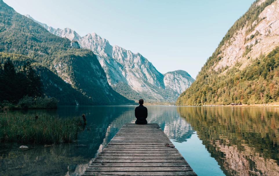 Meditating at a lake